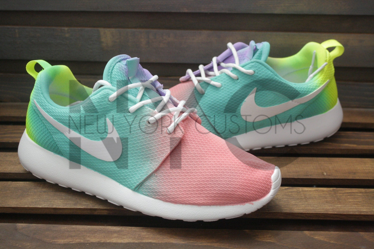 Easter tie dye nike roshe one run triple white pastel custom for Nike tie dye shirt and shorts