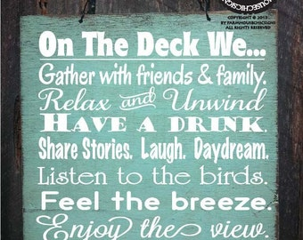 "DECK RULES 18""x18"", patio decoration, patio sign, deck decor, deck sign, deck decoration, 110"