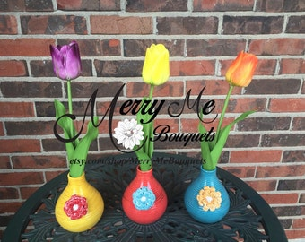 Set of 3 Tulip Arrangements - Tulip Floral Arrangement - Real Touch Tulips - Tulips and Vases - Colorful Vases - Colorful Floral Arrangement