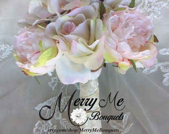 Blush Bouquet - Blush Pink Bouquet - Silk Rose Bouquet - Silk Hydrangea Bouquet - High Quality Silk Rose Bouquet - Blush Rose Bouquet