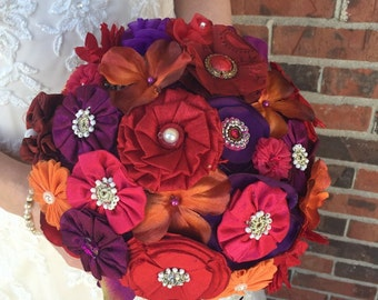 Colorful Fall Bouquet - Fall Fabric Flower Bouquet - Purple Red Orange Bouquet - Fall Bouquet - Orange and Red Bouquet - Purple and Red