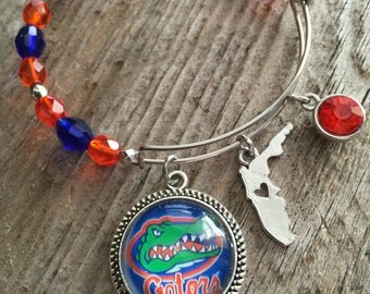 Florida gators jewelry, University of Florida, Gators bracelet,adjustable bangle, football bracelet, UF bracelet