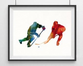 Hockey Gift Hockey Decor Hockey Art watercolor print Hockey poster Hockey player print Sport poster wall art Hockey decor sports decor-69
