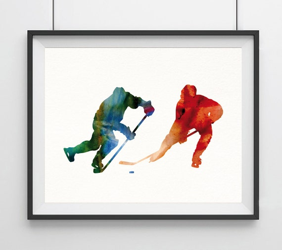 Hockey Gift Hockey Decor Hockey Art watercolor print Hockey poster Hockey player print Sport poster wall art Hockey decor sports decor-69