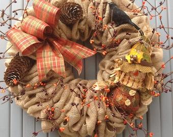 Burlap wreath, fall wreath, burlap and berries, scarecrow, crow, orange, pumpkin, autumn wreath