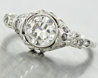 1920s Antique Art Deco  Platinum .81ct E-F EGL Certified Old European Cut Diamond Engagement Ring