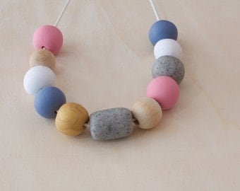 Handmade Womens Polymer Clay & Wooden Bead Necklace