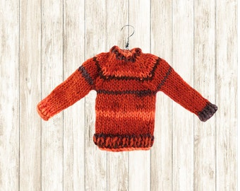 Ugly Sweater Miniature Ornament // Weasley Sweater // Hand Knit Mini Wool Sweater // Tiny Sweaters // Miniatures // Gifts for Knitters