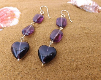Purple heart earrings, Twisty purple and gold earrings, amethyst drop earrings