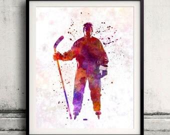 Hockey man player 01 in watercolor - poster watercolor wall art splatter sport illustration print Glicée artistic - SKU 2049