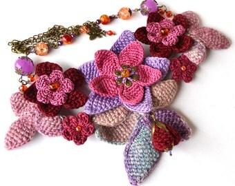 SALE, unique purple flower necklace, flower statement necklace, crochet necklace, purple quirky necklace, crochet jewelry, mori girl