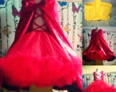 Little red ridding costume petite tutu dress cape and mini basket cosplay fancy dress party fairy tale dress up with accessories
