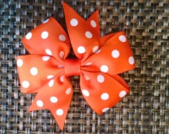 Orange Polka Dotted Pinwheel Bow
