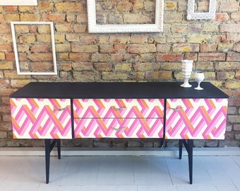 Upcycled vintage retro sideboard chess of drawers dresser TV stand in Cole & Son
