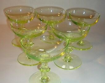 6 Vintage Vaseline Glass Goblets