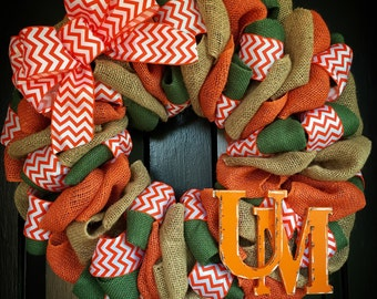 University of Miami wreath, fall wreath, football wreath, miami hurricanes