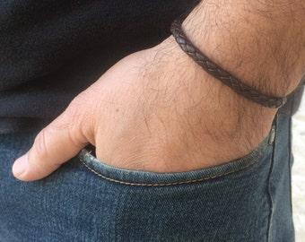Mens Bracelet In Braid Leather Rope Strap