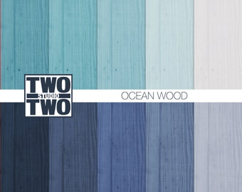 "Wood Digital Paper: ""BLUE WOOD"" in Ocean Shades of Blue, Green, Navy, Aqua, and White, Beach Wood Texture, Summer Wood Background"