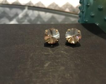 SALE! Vintage Champagne Swarovski Crystal Gold Studs