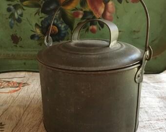 Antique Tin Lunch Pail, Miner's Bucket