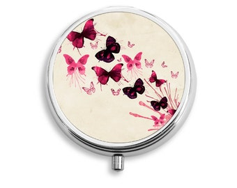 Watercolor Butterfly Design Pill Box, Round Pill Box, PR023