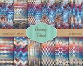 """Tribal Digital Paper: """"Galaxy Tribal Designs"""" featuring triangles, arrows, aztec pattern, galaxy background, colorful tribal patterns"""