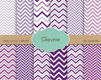 "Purple Digital Paper: ""Purple Chevron Patterns"" chevron digital paper for scrapbooking, invites, cardmaking, crafts"