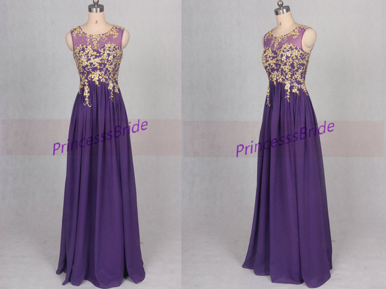 long purple prom dresses 2016 a line o neckline chiffon