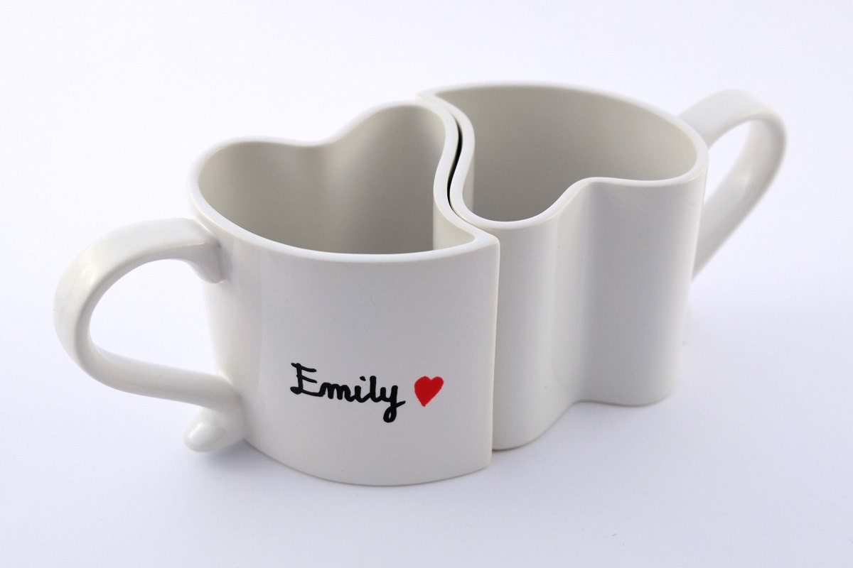 Heart Shaped Mugs Couple Coffee Cups Engagement Gift True