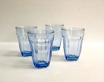 Light Blue Glasses, Set of 4, Pasabahce, Made in Turkey, 8 Fluid Ounces, Blue Juice Glasses