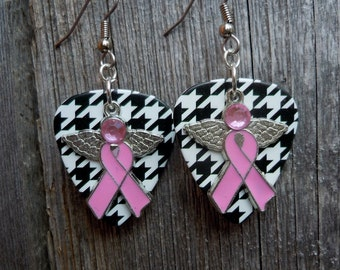 Pink Ribbon with Wings Guitar Pick Earrings - Pick Your Pattern