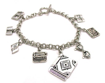 Book Lover Charm Bracelet, Book Charm Bracelet, Writer Charm Bracelet, Author Charm Bracelet, Book Club Bracelet, Librarian Charm, Reading