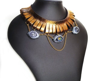 statement necklace, gold leather jewelry, tribal necklace, chain necklace