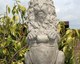 Regal Lion - Gatepost Lion - Stone Garden Ornament Statue - Made in Cornwall by The Cornwall Stoneware Company