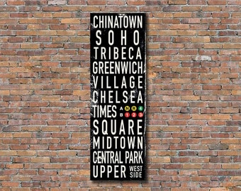 "NEW YORK CITY Bus Scroll, Subway Sign, Vintage Tram Roll, Canvas Poster, Rolled or Framed, 20"" x 60"""