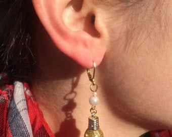 Christmas ornament earrings, pearls and gold