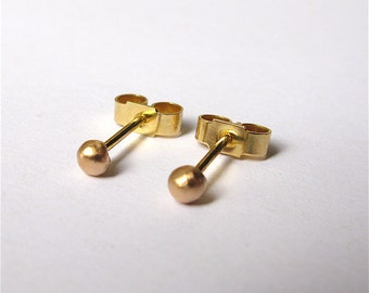 Handmade 18ct Yellow Gold Solid Freeform Tiny Sphere Stud Earrings - PAIR