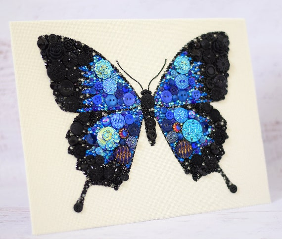 Made To Order Butterfly Button Art 8x10 By Paintedwithbuttons