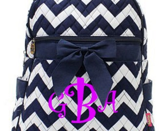 "Monogrammed Quilted Chevron Print Backpack with Bow - Personalized Medium 13"" Navy and White Chevron Book Bag - ZIN2828-NY"
