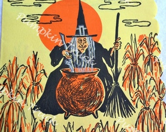 Vintage Paper Halloween Napkin - Witch with Cauldron in Cornfield on Yellow