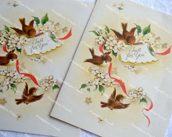 Vintage Note Gift Cards - 3 Blank Bird Cards - For You
