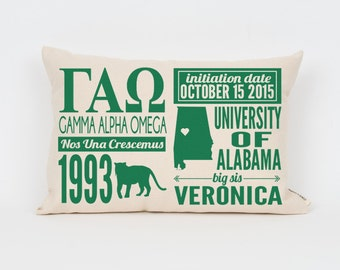 gamma alpha omega custom sorority facts pillow greek letter pillow big little gift sorority letters sorority gift dorm decor