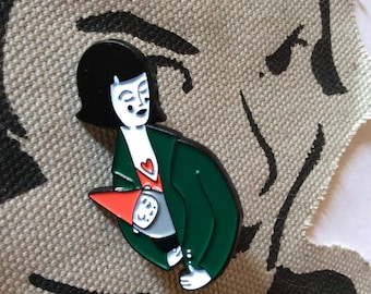 Amélie and Traveling Gnome Enamel Pin