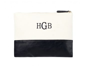 Large Acc/Cosmetic Bag, Black, Monogrammed, Bridesmaids Gifts, Everyday Essentials Bag