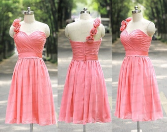 One Shoulder Pink Bridesmaid Dress Handmade Pleat Chiffon Min Pink Wedding Party Gowns Short Pink Prom Dresses