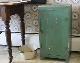Green Metal Cabinet, Metal Closet, Metal Cupboard, Metal Cabinet with Chippy Paint, Steel Cabinet, Farmhouse Cupboard