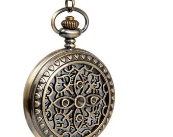 "1 Filligree Flower Pocket Watch/ Necklace Watch/Watch Size 47mm (1.85"") /Chain 80cm (0.87 yard)"