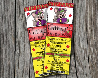 Chuck E Cheese Birthday Ticket Invitation