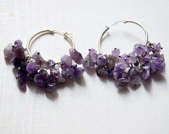 Earrings lilac and purple fluorite