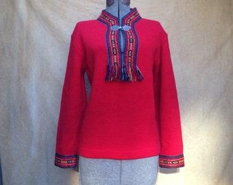 Vintage Nordic Sweater, Red Hand Knit Norwegian Grendin Viking